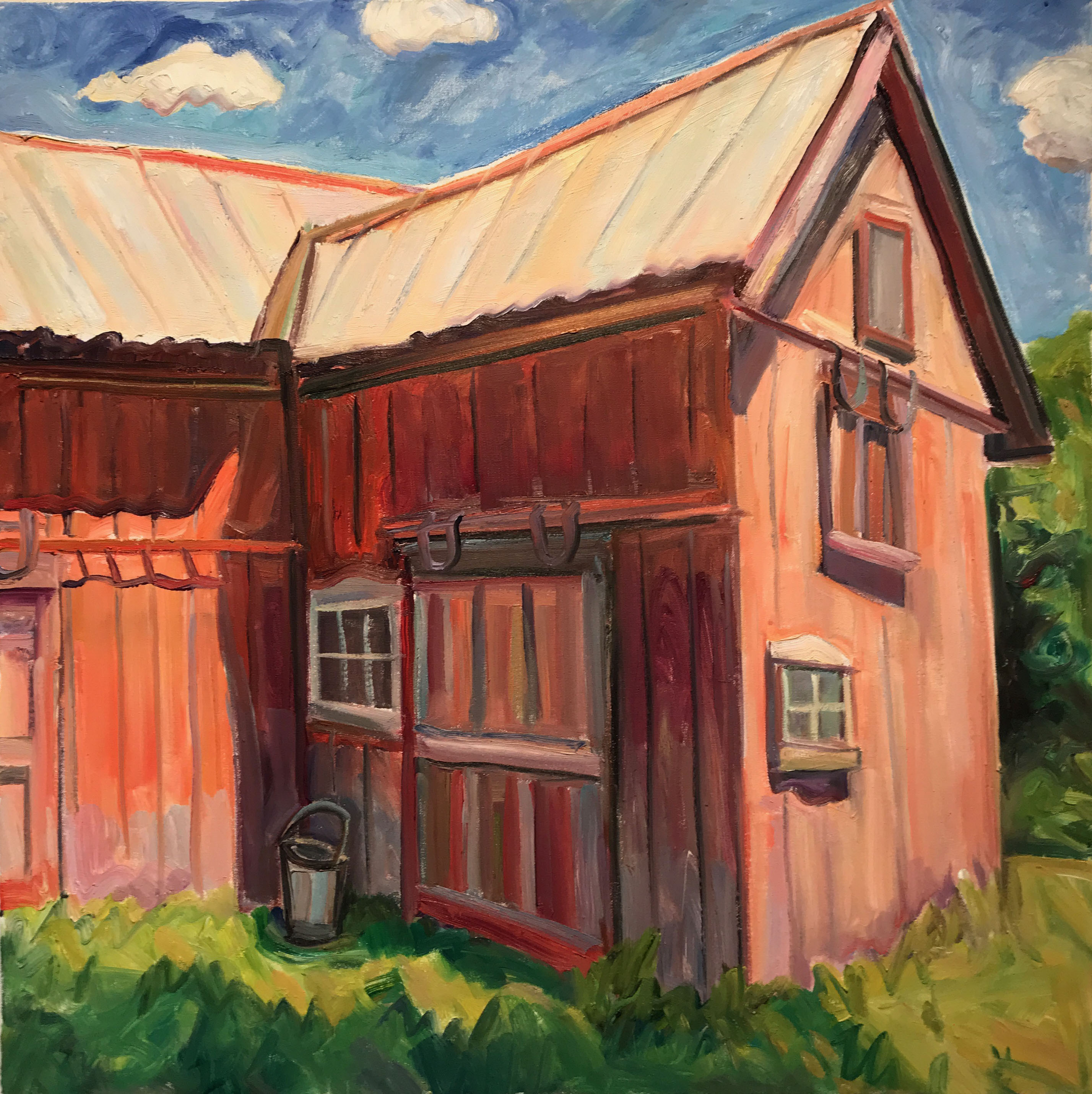 Red Barn with Bucket in Sunlight