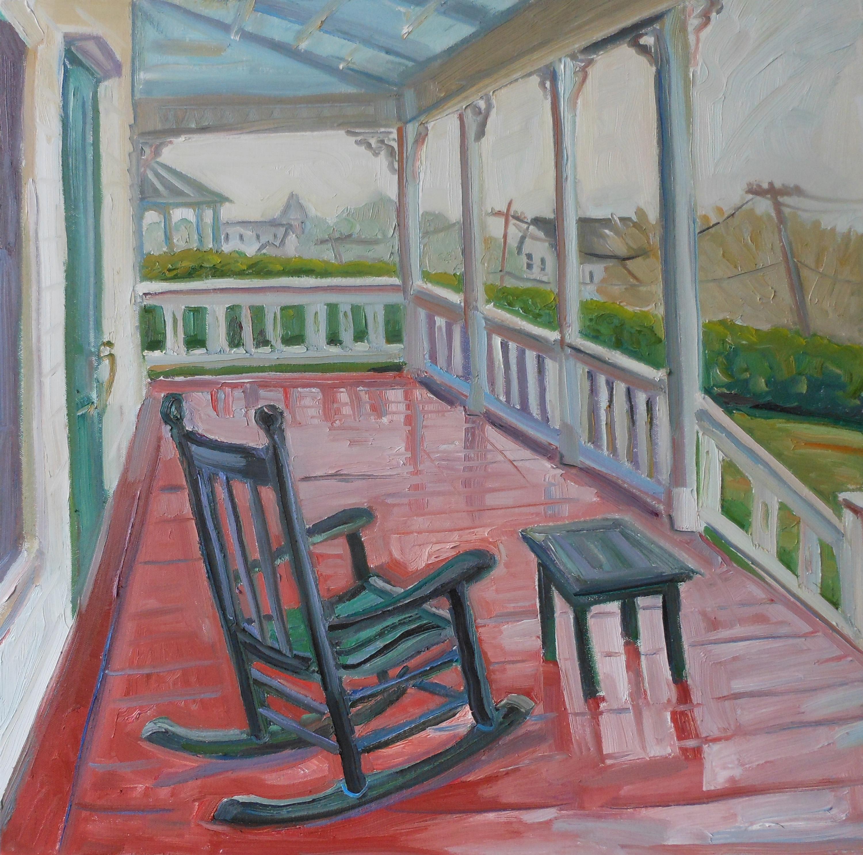 Rocking Chair on Rainy Porch 24x2