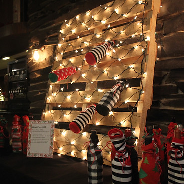 // vino in christmas socks //