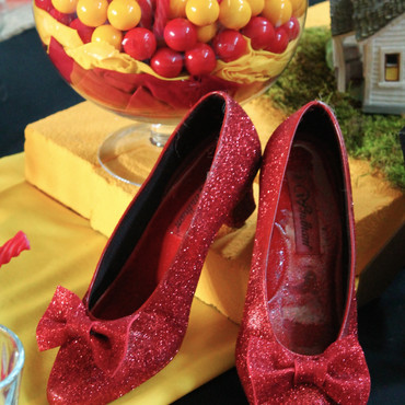 // ruby red slippers on the yellow brick road //