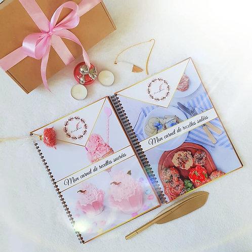 coffret cadeau Carnet de recettes sucrées + salées personnalisable format A4