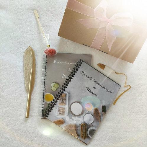Coffret  cadeau Carnets de recettes cosmétiques+produits ménagers.