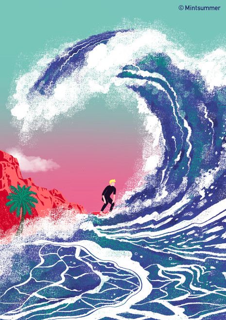 Surfer with wave