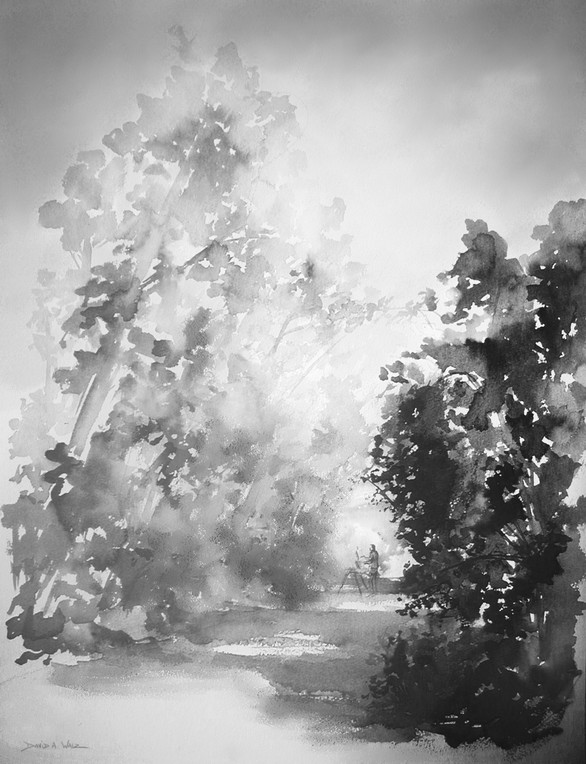 Outdoor ink wash painting on paper.