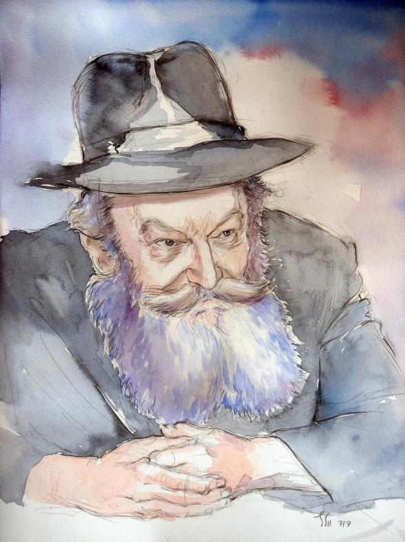 """Portrait of the Lubavitcher Rebbe ZT""""L"""