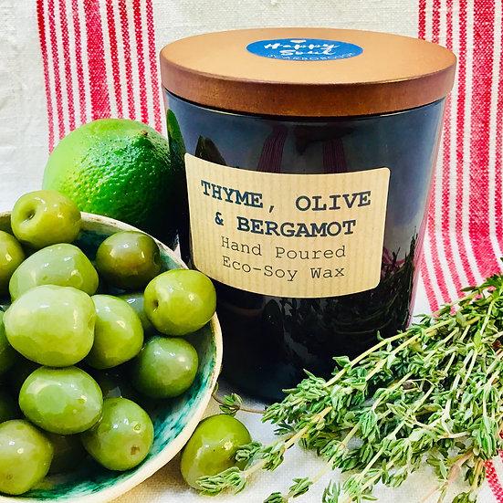 Thyme, Olive & Bergamot Soy Wax Candle - 48 hour Burn Time