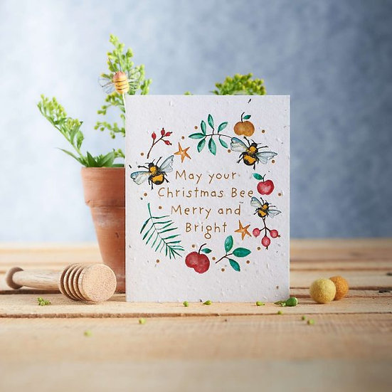 May Your Christmas Bee Merry & Bright - Wildflower Seed Card