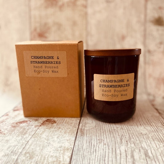 Champagne & Strawberries Natural Candle - 48 Hour Burn Time