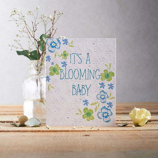 It's A Blooming Baby (Blue) - Wildflower Plantable Seed Card