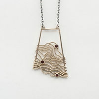 Brass Topographic Pendant with Garnets