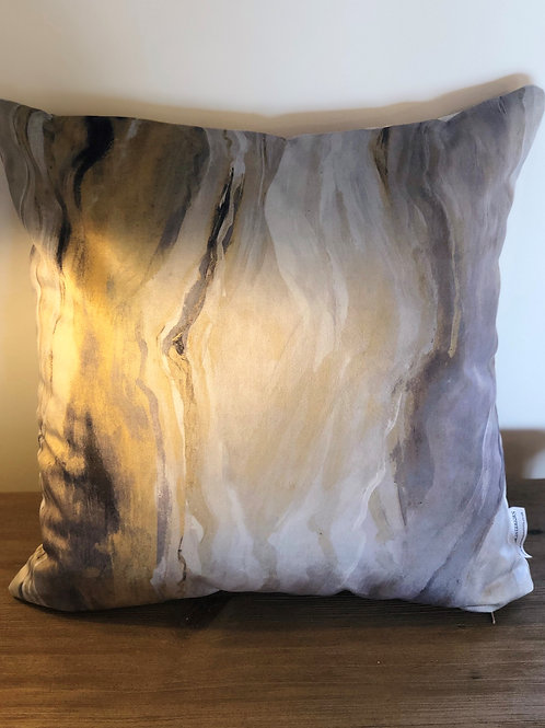 Yellow and Grey Marble Cushion