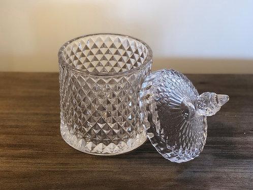 Glass Cut Clear Jar