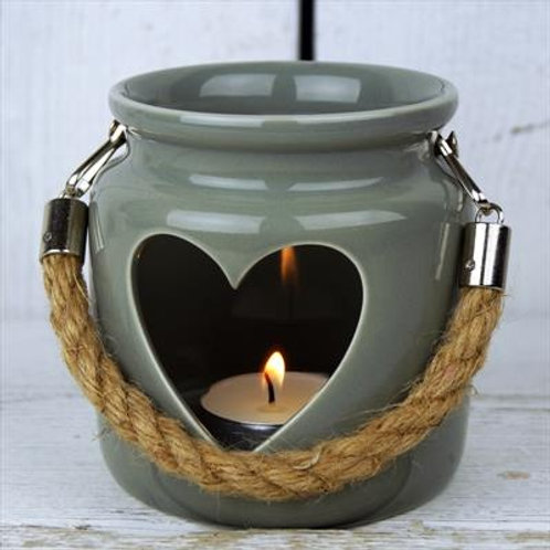 Green-Grey Porcelain Heart Lantern With Rope
