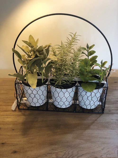 Faux Herbs in Wire Basket