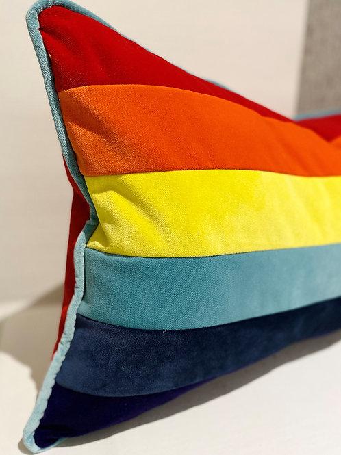 Rainbow - Italian Velvet Large Oblong Cushion