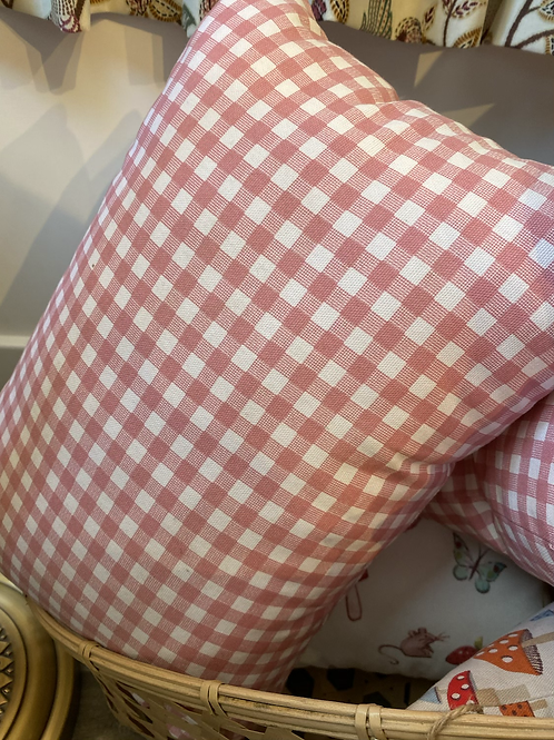 Pink Gingham Oblong Cushion