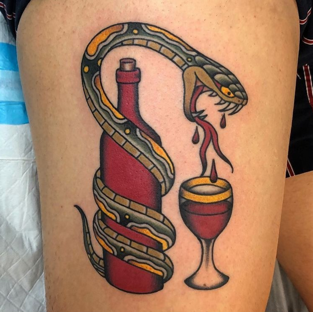 Traditional Snake with Wine Tattoo