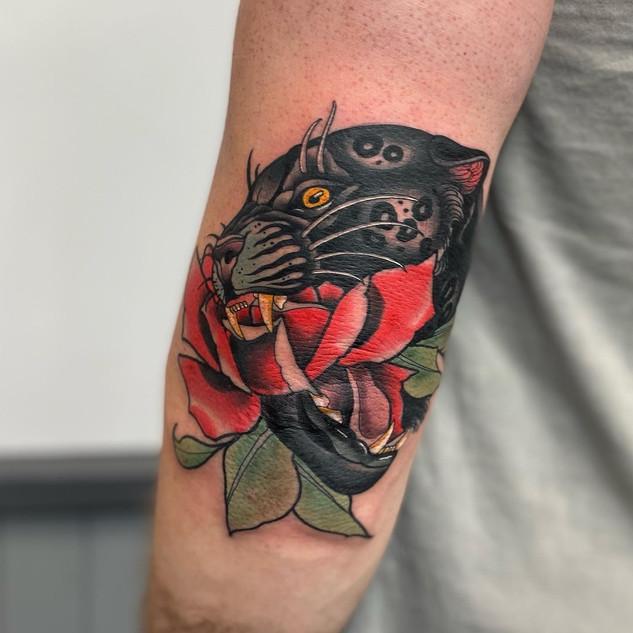 Neo-Traditional Jaguar Mash Up Tattoo