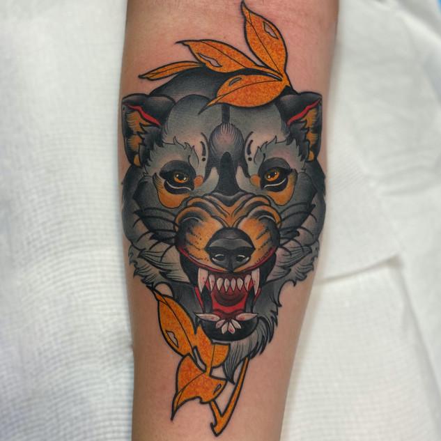 Neo-Traditional Wolf by Jamie Kir