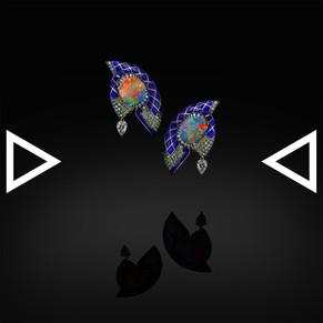 The Iznikish Blue Hornbill Earrings