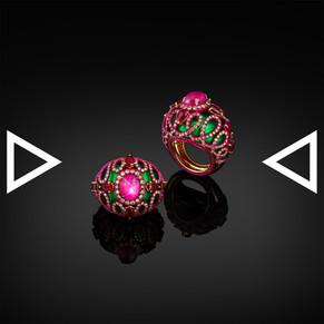 The Greenish-Pinky Baroque Wool Ring