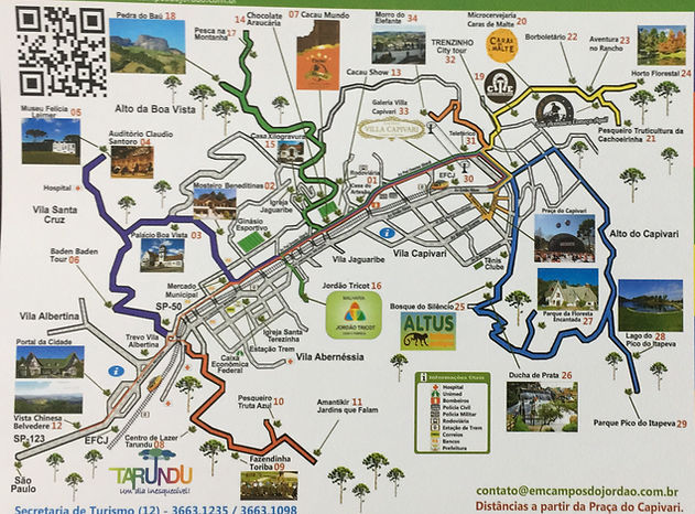 Mapa pontos turísticos Campos do Jordão