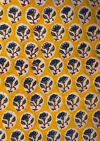 Yellow Blue Hand Block Print Napkins- Set of 4