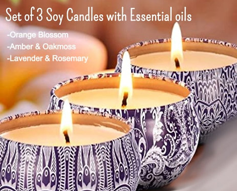 Set of 3 Soy Candles with Essential Oils