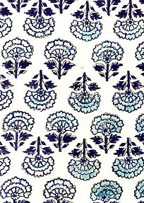 Blue, Navy Soft Hand Block Print Napkins- Set of 4