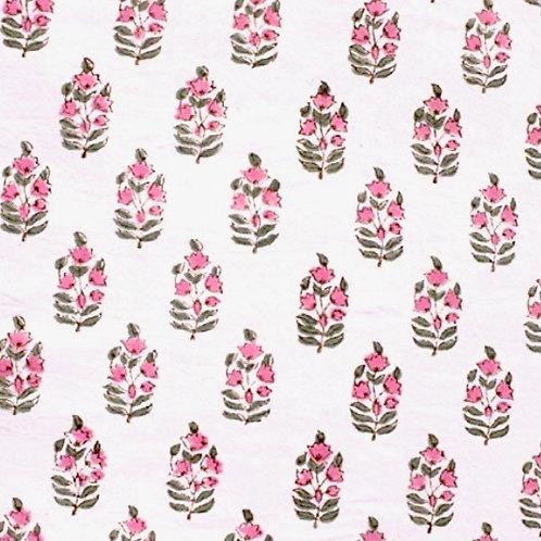 Pink Green Hand Block Print Napkins- Set of 4