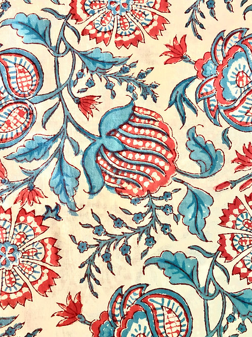 Red, Blue Soft Hand Block Print Napkins- Set of 4