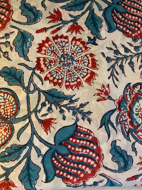 Red/Blue Flower Hand Block Print Napkins- Set of 4