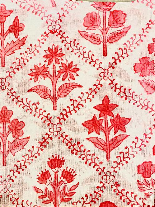 Bright Pink Soft Hand Block Print Napkins- Set of 4