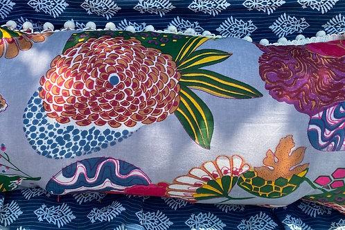 Grey Boho Flower Pillow