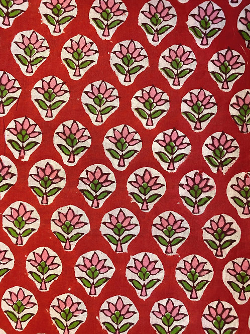 Red Hand Block Print Napkins- Set of 4