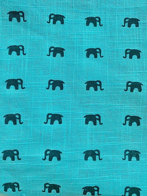 Teal Elephant Soft Hand Block Print Napkins- Set of 4