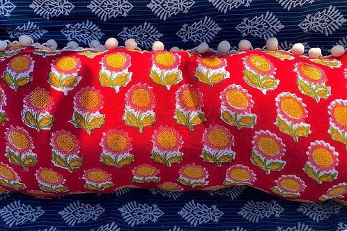 Red/Pink/Orange Hand Blocked Pillow