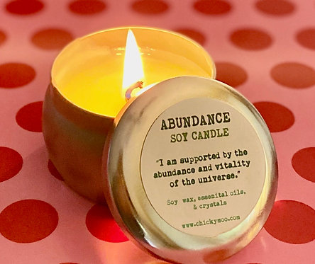 Abundance Soy Candle with Citrine Gemstones