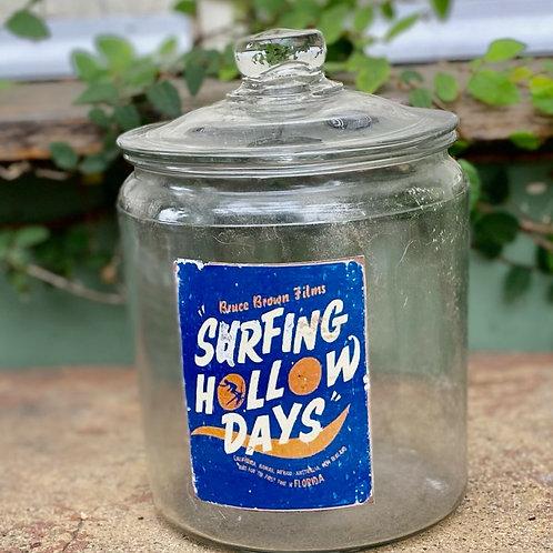 Vintage Surfing Hollow Days Glass Jar