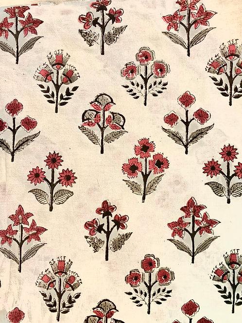 Pink Flower Soft Hand Block Print Napkins- Set of 4
