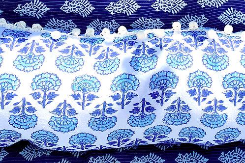 Blue/Aqua Boho Hand Blocked Pillow