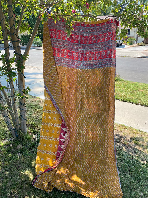 Indian Kantha Quilt -Yellow, Burgundy