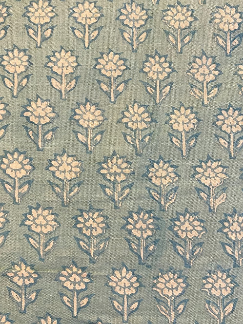 Sm. Green Flower Hand Block Print Napkins- Set of 4