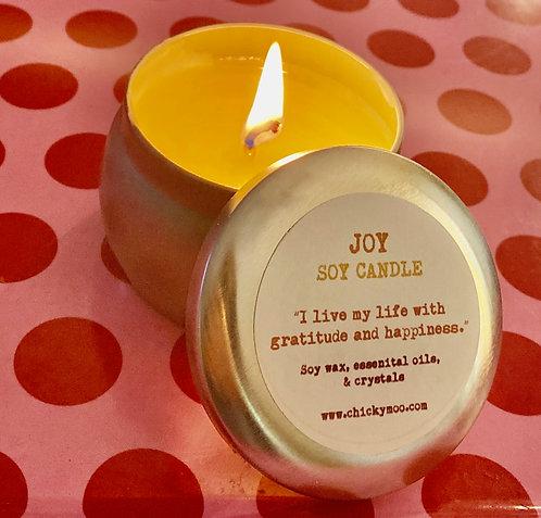 Joy Soy Candle with  Sunstone Gemstones