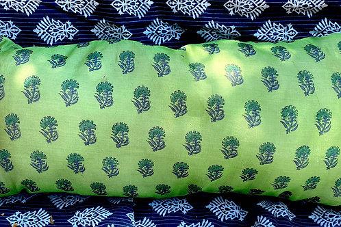 Green Hand-Blocked Pillow