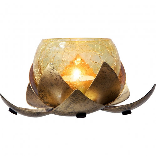 Lotus Gold Metal w/Glass Tea-Light Holder