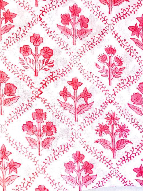 Hot Pink Hand Block Print Napkins- Set of 4