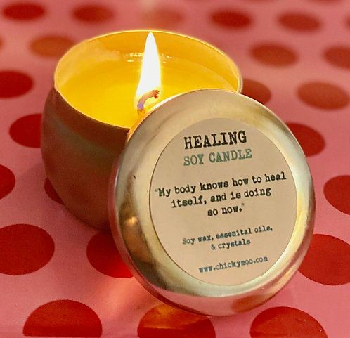 Healing Soy Candle with Aventurine Gemstones