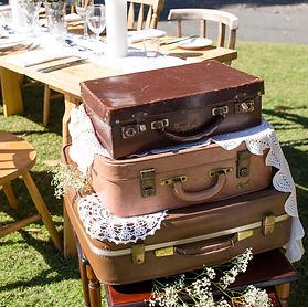 suitcase arrangment rustic