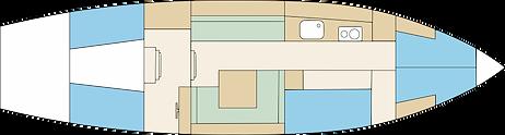 Schéma d'une coupe transversale d'un voilier